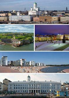 From top-left: Helsinki Cathedral, Suomenlinna, Senate Square, Aurinkolahti beach, City Hall