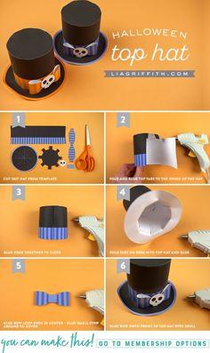 Printable Halloween Party Hats - www.liagriffith.com #diyinspiration #spons #canon #printables #diyhalloween #diycostume #diyhalloweencostume #paperart #madewithlia