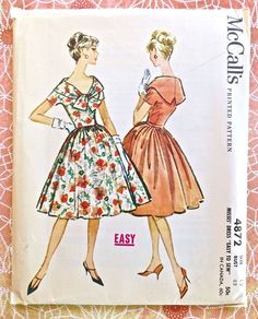 McCalls 4872  Vintage 1950s Womens Dress Pattern with by Fragolina, $12.00