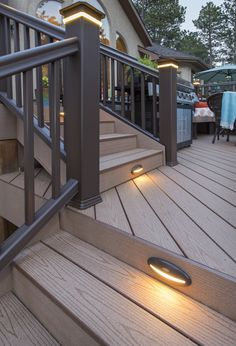Light your way to your grill with TimberTech Post Cap Lights or Riser Lights. #TimberTechLighting