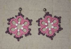country pink and purple tatted lace earrings by TattingByWendy
