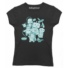 Retro Robots Tee Women's Black, $21, now featured on Fab.