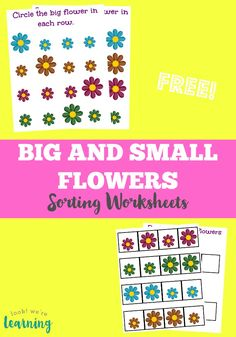 Flower Size Sorting Printables for Kids! Pick up our free flower size sorting printables - a set of spring worksheets for kids that are awesome for working on size differentiation for preschool! Printable Math Worksheets, Printable Activities For Kids, Sorting Activities, Preschool Learning Activities, Free Preschool, Worksheets For Kids, Teaching Resources, Free Printables, Fish Activities