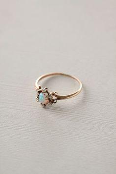 Opal & Diamond Flower Ring - Doyle & Doyle; Anthropologie