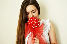 Red Handmade Chiffon Roses Unique Wedding Bouquet by BizimFlowers