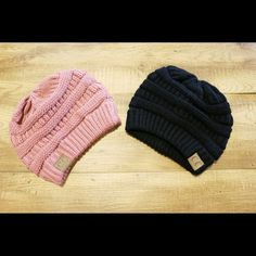 Beanies | CC Beanies Pink and black knit beanies. This listing is priced for each individual hat CC Beanies Accessories Hats