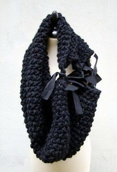 Chunky crochet scarf/cowl/neck warmer...tied together with cute ribbon bows/knots...