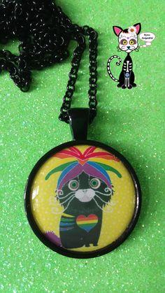 BIJOUX COLLIER CABOCHON KAWAII CHAT RAINBOW GAY PRIDE -1- : Collier par bijoux-songedete