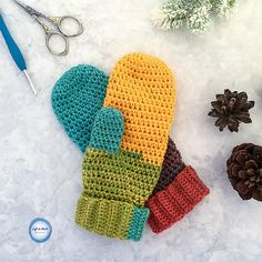 These mittens are part of a free crochet pattern collection called the Chroma Collection. Use Lion Brand Mandala yarn to make the Chroma Mittens! Then make the Chroma Slouch Hat and Chroma Scarf to match.