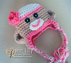 Girl Crochet Sock Monkey Hat with Rhinestone Center Layered Flower, ear flaps, and tassels - customize colors www.peanutlilly.etsy.com
