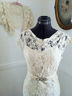 1930's Lace Dress w/Jacket - draped neckline