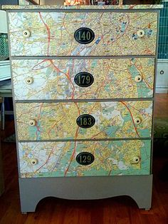 Painted Old Dresser with Decopauged Maps on the Drawer Fronts and Awesome Numbers as Accents  (isuwannee)