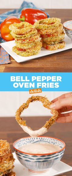 Bell Pepper Oven Fries >>> Onion Rings - - Healthy never looked so good. Vegetable Dishes, Vegetable Recipes, Bell Pepper Salad, Sweet Bell Peppers, Fries In The Oven, Fries Oven, Pasta, Appetizer Recipes, Gastronomia