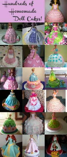 Brings back memories! My grandmother made a few doll cakes for me when I was a little girl. An amazing collection of homemade doll cakes anyone can make! Pretty Cakes, Cute Cakes, Beautiful Cakes, Yummy Cakes, Amazing Cakes, Bolo Elsa, Bolo Fack, Bolo Barbie, Homemade Dolls