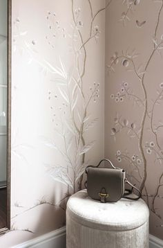 This elegant dressing room in soft pinks and metallic accents was hand painted onto silk wallpaper, creating a luxury interior design scheme Silk Wallpaper, Hand Painted Wallpaper, Chinoiserie Wallpaper, Room Wallpaper, Blue And Cream Bedroom, Cream Bedrooms, Feature Wall Bedroom, Bedroom Wall, Master Bedroom