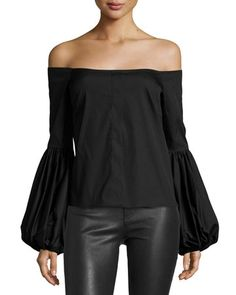 Caroline Constas Giselle Off-the-shoulder Poplin Blouse, Black, White Cold Shoulder Blouse, Ella Moss, Red Blouses, Black Blouse, Poplin, Off The Shoulder, Shoulder Tops, Long Sleeve Tops, Clothes For Women