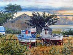I want this....Monterey Boatworks Watercolor Art