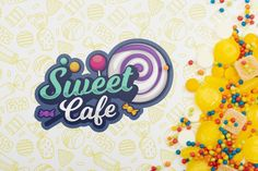 Sweet cafe logo with yellow candies Free. Cafe Logos, Sweet Cafe, Logo Psd, Luxury Logo, Vintage Logo Design, Vector Photo, Craft Shop, Psd Templates, Blog