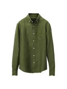 Dyed shirt made of 100% linen. Features a casual fit, button-down Kent collar, front button fastening, a patch pocket on the chest and long sleeves with rounded button cuffs.