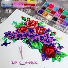 Flower bouquet hama mini beads by renk__ahenk