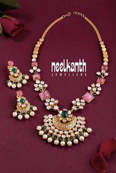 Polki Diamond Set by Neelkanth Jewellers Gold Earrings Designs, Gold Jewellery Design, Bead Jewellery, Necklace Designs, Beaded Jewelry, Gold Designs, Gold Jewelry Simple, Trendy Jewelry, Emerald Jewelry