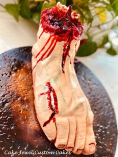 Severed foot cake Ipad Cake, Microphone Cake, Food License, Sugar Skull Cakes, Jewel Cake, Ivory Wedding Cake, Make Up Cake, Personalized Cakes, Sculpted Cakes