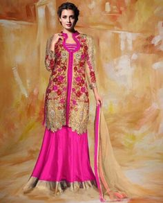 Pink heavy embroidered jacket style lehenga   1. Pink net jacket style lehenga2. Zari and thread floral embroidery on jacket3. Golden broad border on lehenga4. Comes with matching bottom and dupatta5. Can be stitched upto size 42 inches