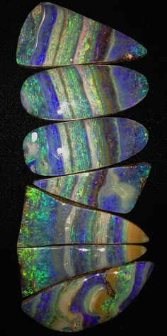 Boulder opal!  Some nice new stones I just cut! Bill Kasso