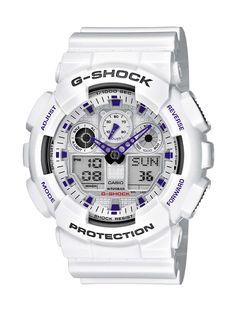 CASIO G-Shock GA-100A-7AER - Reloj de caballero de cuarzo, correa de resina color blanco (con alarma, cronómetro, luz): Amazon.es: Relojes