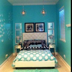 Tiffany blue girls bedroom.