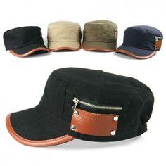 Contrast Leather Cotton Cadet Caps Hats Military Vintage Korean Fashion Men Women Unisex
