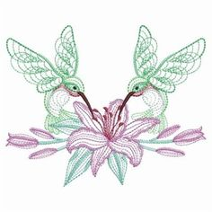 2 Rippled hummingbird floral embroidered fabric quilt blocks squares