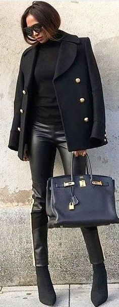 #winter #outfits black blazer and leather fitted pants. Pic by @_luxury_fashion_style.