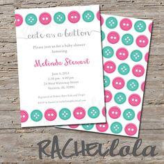 Cute As A Button Pink And Teal Baby Shower Invitation