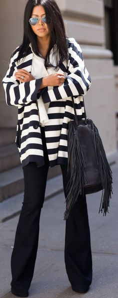 stripes office look Fall autumn women fashion outfit clothing stylish apparel @roressclothes closet ideas