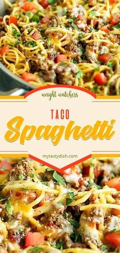 SpaghettiTaco Spaghetti Skinny White Chicken Enchiladas are rich and creamy, but skip the high fat and calorie content of traditional creamy enchiladas. Click the video f Taco Spaghetti, Spaghetti Recipes, Pasta Recipes, Dinner Recipes, Cooking Recipes, Mexican Spaghetti, Dinner Ideas, Spaghetti Squash, Meat Recipes