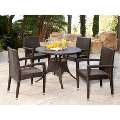 Abbyson Living Keeley Wicker 5 Piece Patio Dining Set   Get Your Backyard  Party Started With The Abbyson Living Keeley Outdoor Wicker Dining Set .