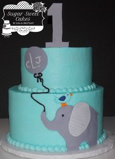 """Elephant w/Balloon - 6"""" & 8"""" cakes iced in buttercream w/hand cut fondant decorations to match child's clothes/party outfit. TFL!"""