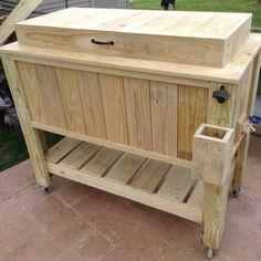 Wood Cooler, Cooler Cart, Patio Cooler, Cooler Stand, Diy Cooler, Outdoor Cooler, Cooler Box, Wood Shop Projects, Diy Pallet Projects