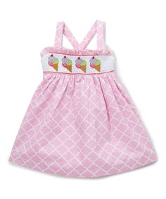 Take a look at this Pink Quatrefoil Ice-Cream Smocked Dress - Infant, Toddler & Girls today!
