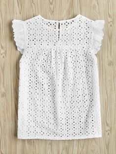 Dotfashion Buttoned Keyhole Flutter Sleeve Blouses Cap Sleeve Blouses With Ruffle Summer Eyelet Embroidered Smock Tops Casual Dresses, Casual Outfits, Fashion Dresses, Pretty Outfits, Fall Outfits, Love Fashion, Girl Fashion, Diy Kleidung, Blouse Styles