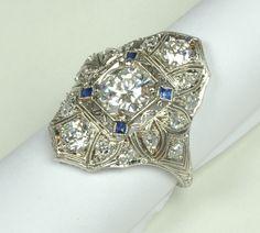 One of a Kind Right Hand Art Deco Ring. Brilliant Diamonds and Sapphire Stone Accents. Antique Rings, Vintage Rings, Antique Jewelry, Vintage Jewelry, Art Deco Ring, Art Deco Diamond, Art Deco Jewelry, Jewelry Ideas, Diamante Art Deco