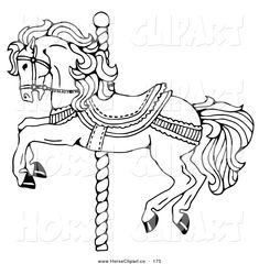 Carousel Horse Coloring Pages | Carousel Horse Decorated Bows And Flowers…
