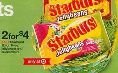 Starburst Jelly Beans only $.53 each at Target after Stacked Coupons, Cartwheel and Sale! - http://www.couponaholic.net/2015/03/starburst-jelly-beans-only-53-each-at-target-after-stacked-coupons-cartwheel-and-sale/