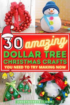 Christmas Bazaar Crafts, Christmas Arts And Crafts, Christmas Craft Projects, Diy Christmas Decorations Easy, Homemade Christmas Gifts, Handmade Christmas, Holiday Crafts, Holiday Fun, Dollar Tree Christmas