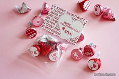 valentine chocolate kisses in bag with label can customize name on heart