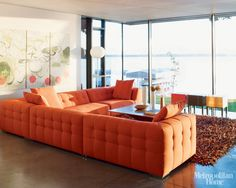 Trend Spotting Tangerine Tango Interiors in Design, Home Decor, Art, Accessories, Style and Fashion. Featured: Pantone Color of the Year 2012 Tangerine Tango Orange Color Palettes in the home Sofa Layout, Living Room Modern, Living Room Decor, Living Spaces, Living Rooms, Ligne Roset, Retro Furniture, Furniture Design, Orange Furniture