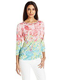 New Ruby Rd. Women's Petite Size Floral 3/4 Sleeve Knit Top With Sharkbite Hem online. Find the perfect Lacoste Tops-Tees from top store. Sku MVQR96038YFIS96018