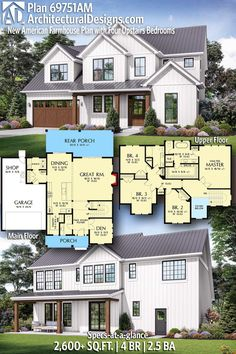 Architectural Designs - Selling quality house plans for over 40 years - Architectural Designs Modern Farmhouse Plan sq ft Sims House Plans, Family House Plans, House Plans 2 Story, New House Plans, Dream House Plans, House Floor Plans, Casas The Sims 4, American Farmhouse, Modern Farmhouse Plans