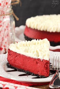 This delicious Red Velvet Cheesecake Recipe is the perfect Valentine's Day treat! Get 25 of the best red velvet dessert recipes on www.prettymyparty.com.